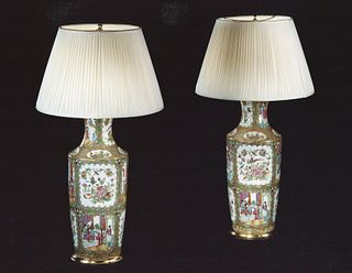 Pair Of Chinese Canton Vases Convereted Into Lamps