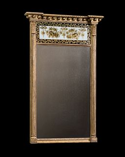 An Early 19th Century Regency Period Églomisé, Gilt And Painted Pier Mirror.