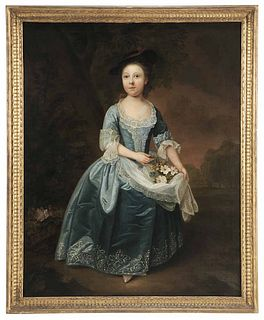 18th Century English Portrait Of A Young Girl Attributed To Philip Mercier