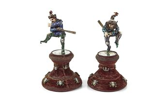 A pair of Viennese Silver, Enamel Court Jesters
