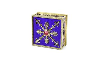 A Faberge Square shaped Enamel and Topaz box