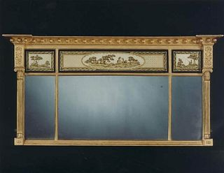 Regency Period Verre Églomisé Overmantle Miror