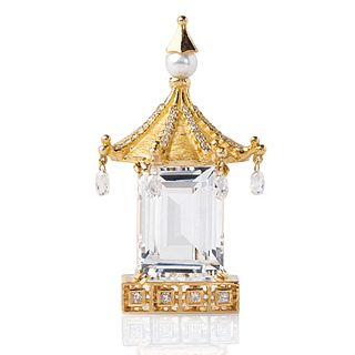 Mish Chinoiserie Pagoda Brooch, 18k Gold, Topaz & Diamond