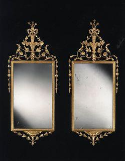 Pair Of George III Carved Giltwood Mirrors