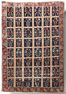 A RARE DESIRABLE 18C NW PERSIAN GARDEN CARPET FRAGMENT