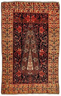 A FINE PERSIAN MALAYER PRAYER RUG WITH CYPRESS C. 1860
