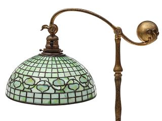 A TIFFANY STUDIOS FLOOR LAMP WITH LEADED ACORN SHADE