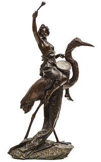A RARE EMMANUEL VILLANIS (1858-1914) ART NOUVEAU BRONZE