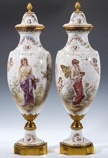 AN EXCEPTIONAL SEVRES URN PAIR SIGNED M. DEMONCEAUX