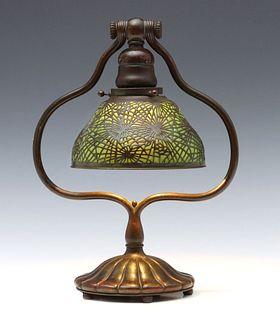 A TIFFANY STUDIOS GLASS AND BRONZE PINE NEEDLE LAMP
