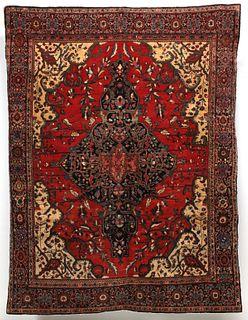 A FINE ANTIQUE PERSIAN FERAGHAN SAROUK MEDALLION RUG