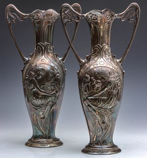 A PAIR 18-INCH ART NOUVEAU VASES WITH LADIES SIGNED WMF