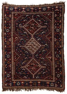 AN ANTIQUE KAMSEH SOUTHWEST PERSIAN ORIENTAL RUG