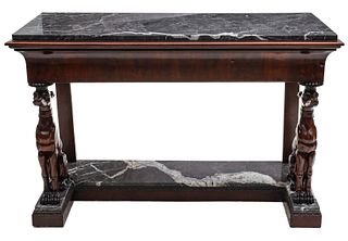 A GOOD 19TH C. NEOCLASSICAL CONSOLE WITH LARGE WHIPPETS