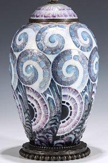 AN ART DECO ENAMELED GINGER JAR SIGNED FAURE LIMOGES