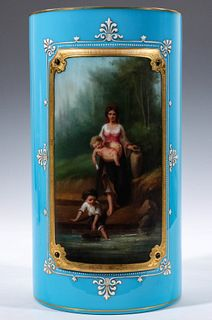 A RARE BOHEMIAN GLASS VASE WITH BOLTED PORCELAIN PLAQUE