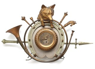 AN EARLY 20TH CENTURY BRONZE FOX HUNT THEME CLOCK
