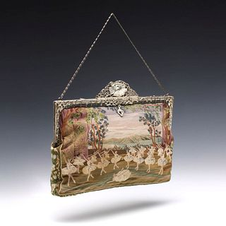 AN EXCEPTIONAL PETTIPOINT PURSE WITH HAND ENGRAVED FRAME