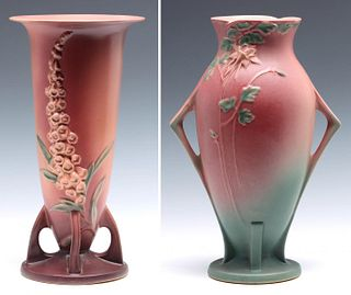 ROSEVILLE ART POTTERY 14-INCH FOXGLOVE AND COLUMBINE