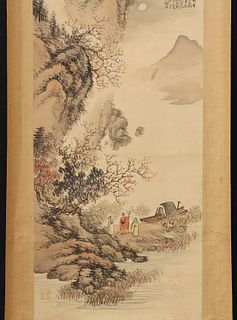 A CHINESE WATERCOLOR MOUNTED AS SCROLL BY HUANG SHI