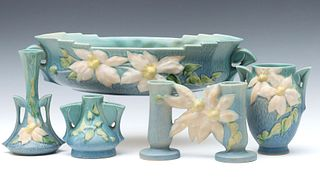 A COLLECTION OF ROSEVILLE CLEMATIS ART POTTERY