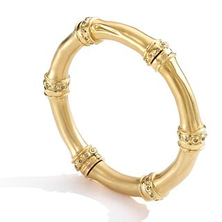 Mish Bamboo Bangle, 18k Gold & Brown Diamond