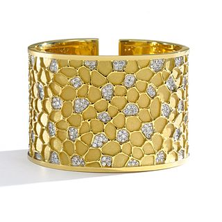 Mish Honeywood Double-Hinged Cuff Bracelet, 18k Gold & Diamond Pavé