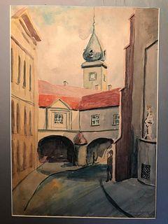 Polish City Scenes, Warsaw, Watercolors, signed T Gajewski, 1969, pair.
