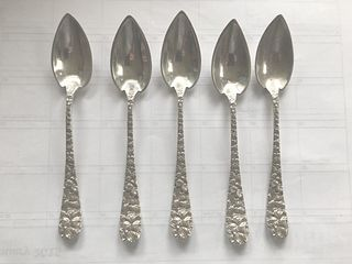Schofield Baltimore Rose 5 Sterling Silver Grapefruit Spoons Original 6""