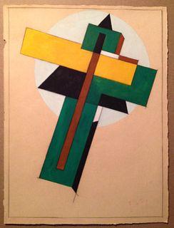 Constructivist Gouache/Paper, El Lissitzky, Russian
