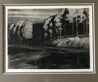 Walter Leistikow, Landscape with River, original etching, German, 1896