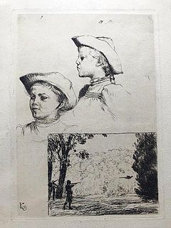 Hunter in landscape & Girl, etching, Ludwig Knaus, Listed German