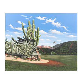 LOTE CON PRECIOS DE RECUPERACIÓN. RENÉ MARTÍN, Desierto de Los Cabos, Firmado al frente y al reverso, Acrílico sobre tela, 80 x 100 cm