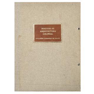 Horz de Vía, Elena (Introducción). Bocetos de Arquitectura Colonial. México: Fernández Editores, 1980. Firmado por Fernández de Castro.