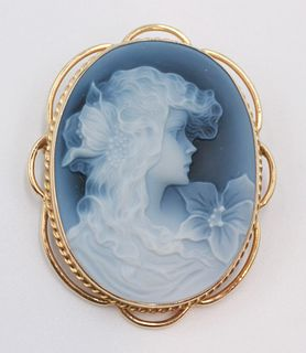 14K Yellow Gold Hardstone Cameo Pendant/Brooch