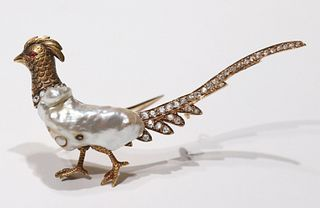 Antique Pheasant Pearl and Diamond Brooch