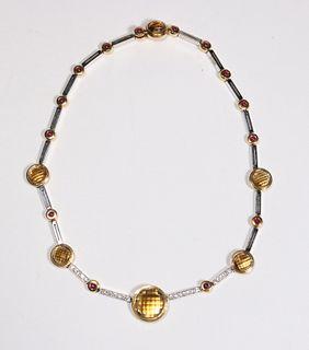 Antonini Citrine, Ruby, and Diamond Necklace
