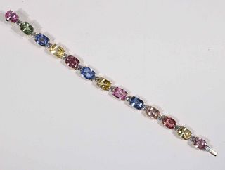 Bayco Multi-Colored Sapphire & Diamond Bracelet