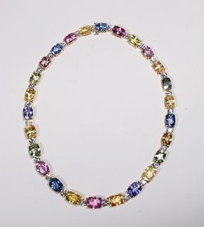 Bayco Multi-Colored Sapphire & Diamond Necklace