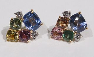 Pair of Multi-Colored Sapphire & Diamond Earrings