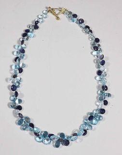 Blue Topaz and Iolite Briolette Strand Necklace