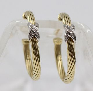 David Yurman Diamond Cable Hoop Earrings