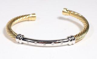 David Yurman Yellow Gold and Diamond Cable Cuff
