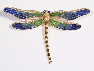 Diamond and Plique a Jour Dragonfly Brooch