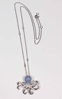 Diamond and Sapphire Octopus Pendant Brooch