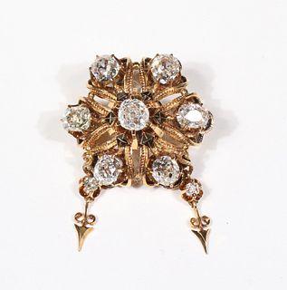 Victorian Yellow Gold Enamel and Diamond Brooch