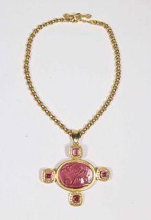 Elizabeth Locke Pink Tourmaline Pendant Brooch