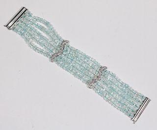 Five-Strand Aquamarine Bead Bracelet