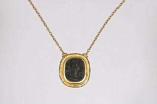 "Gurhan Framed Lava Stone Style ""Cameo"" Necklace"