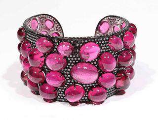 Laura Munder Rubellite Tourmaline Cuff Bracelet
